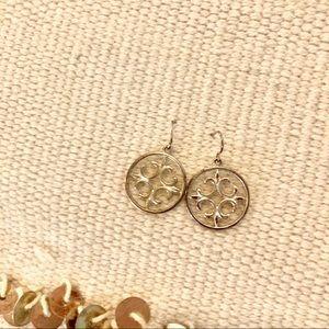 Silver Pennant Dangly Earrings